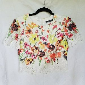 Badgley Mischka lace floral crop top, small, #A301